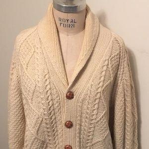 Saks Fifth Avenue Vintage Cream Aran Sweater